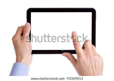 Holding and pointing to blank screen on digital tablet with copy space isolated on white - stock photo