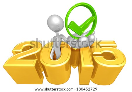 Holding Approval Symbol Coming Out Of The Year - stock photo