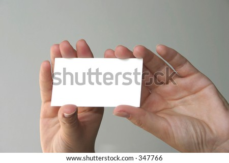 holding blank business card #4