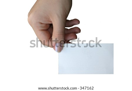 holding blank business card #3, background is pure white - stock photo