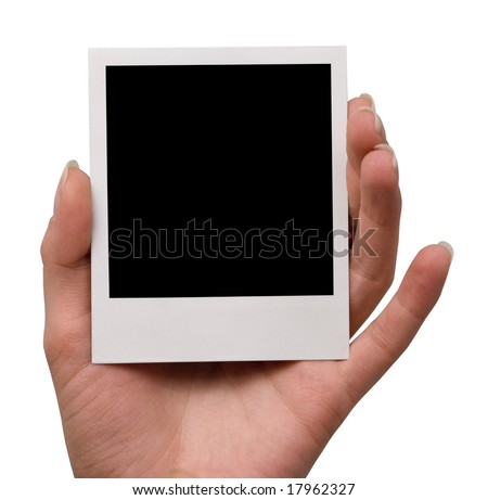 holding blank instant photo, isolated - stock photo