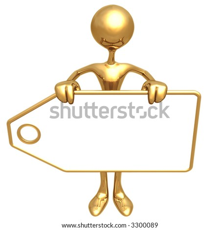 Holding Blank Price Tag - stock photo