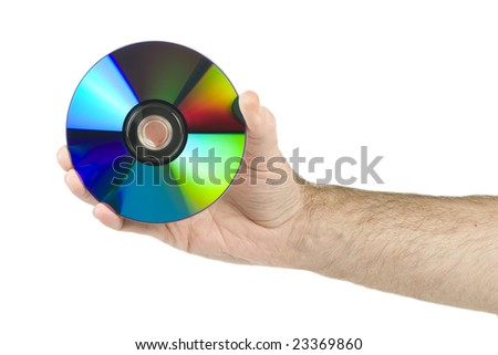 Holding cd in hand isolated on white background