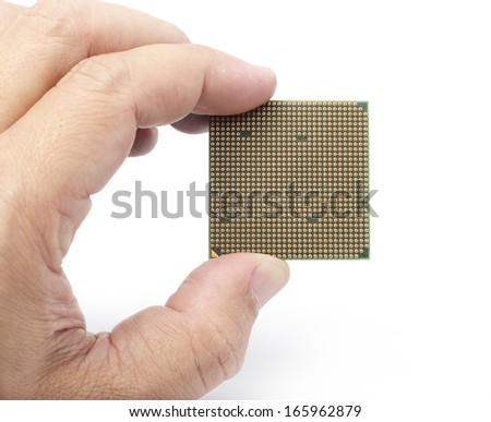 Holding Computer CPU on White background