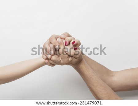Holding crazy hand - stock photo