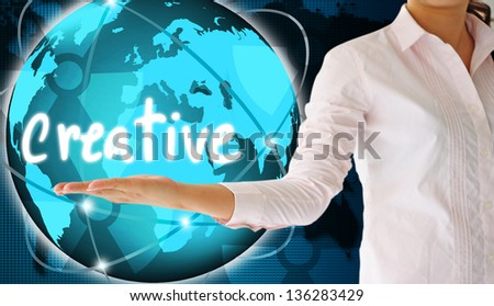 holding creative  in his hand  , creative concept - stock photo