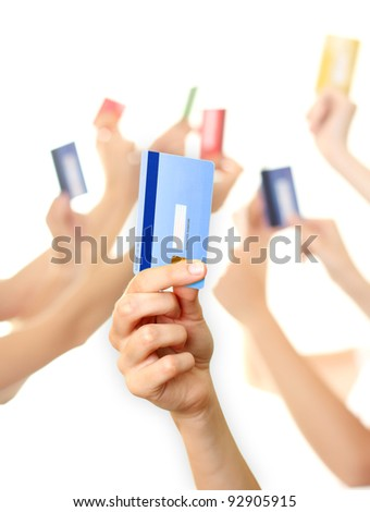Holding credit card - stock photo