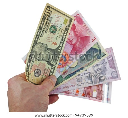 holding currencies - us dollar, chinese yuan, japanese yen, indian rupee, euro