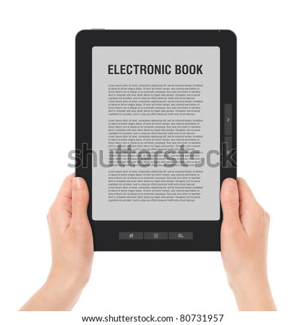 Holding E-book reader in hands. Include clipping path for screen and book with hands. LOREM IPSUM text on e-book screen. - stock photo