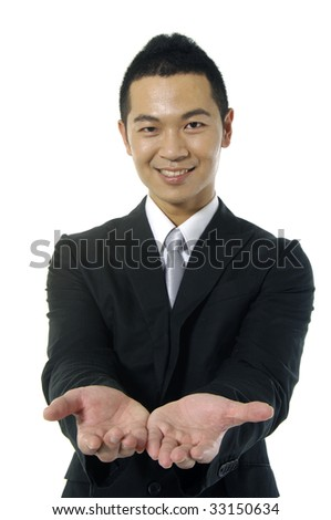 holding empty hands out - focus on hands - stock photo