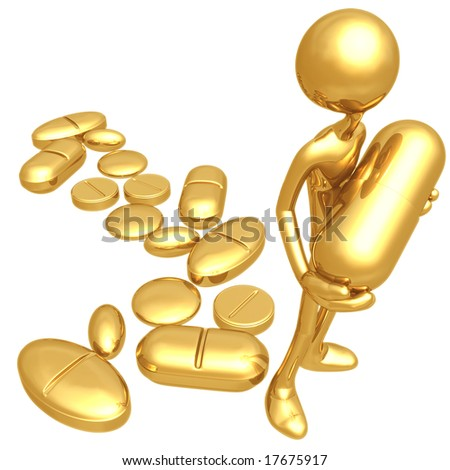 Holding Giant Pill - stock photo