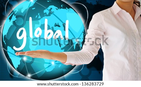 holding global in  hand  , creative concept - stock photo