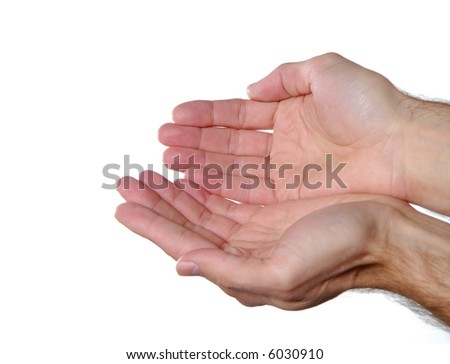Holding hand sign isolated on white background - stock photo