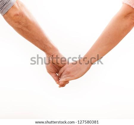Holding hands couple on white background. - stock photo