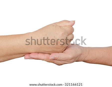 holding hands elderly on white background