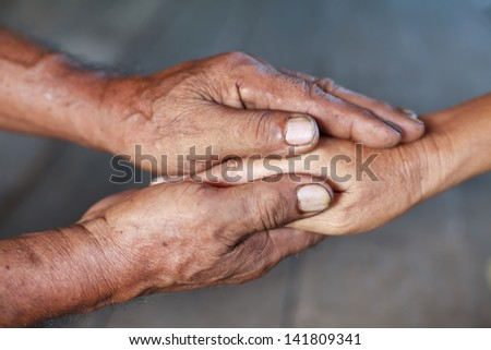 Holding hands,love concept - stock photo