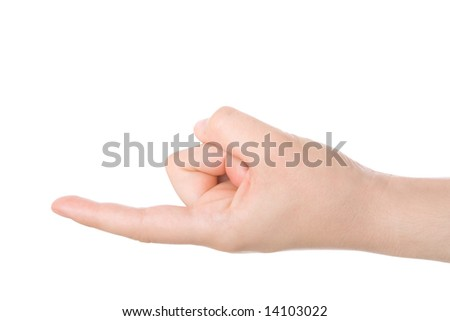 Holding in the tip of the finger concept. - stock photo