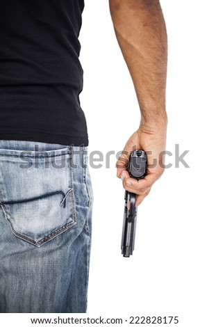 Holding man a gun isolated on white - stock photo