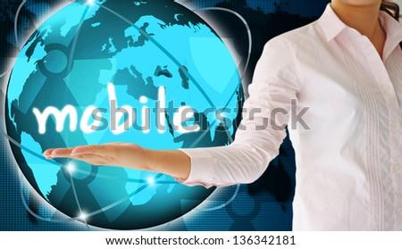holding mobile  in hand , creative concept - stock photo
