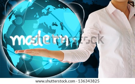 holding modern  in hand , creative concept - stock photo