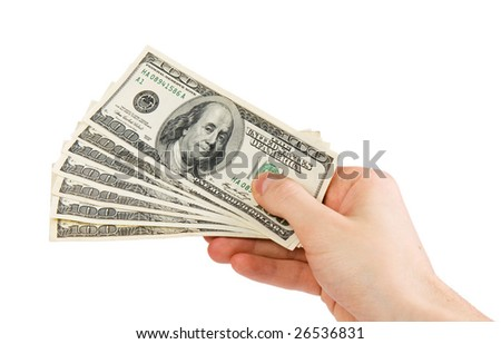 Holding money isolated in white background