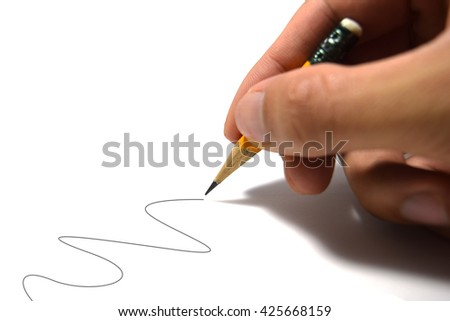 Holding pencil to write wave line isolate on white background