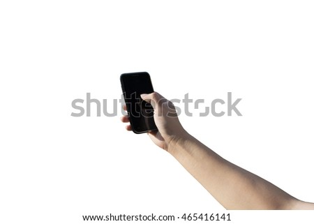 Holding Phone with Right Hand Isolated White Background