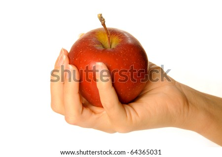holding red apple - stock photo