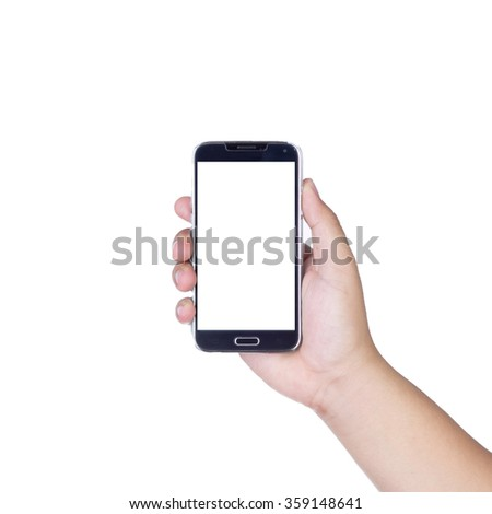 holding smartphone with isolated screen in hand, isolated on white background