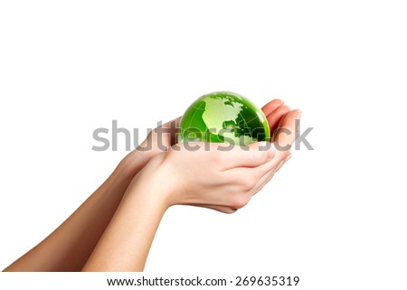 Holding the Earth America - stock photo