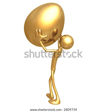 Holding Up Gold Nest Egg - stock photo