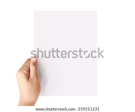 holding white a blank A4 paper - stock photo