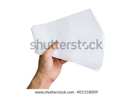 Holding white envelope letter office isolate on white background - stock photo