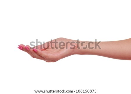 holding woman hand with lovely pink manicure over white background