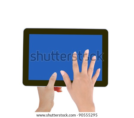 holds and touch tablet computer isolated on white background - stock photo