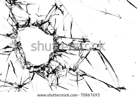 Hole  cracks  window - stock photo