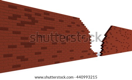 hole in a red brick wall breaking. 3d clip art illustration - stock photo