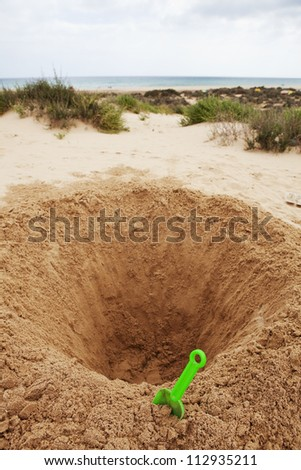 Hole in ground - stock photo