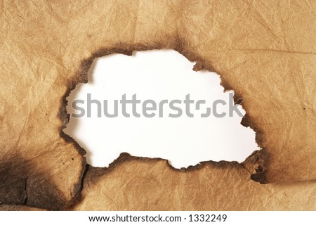 hole in grungy paper - stock photo