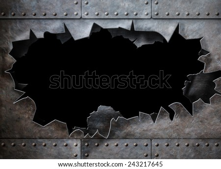 hole in metal armor steam punk background - stock photo