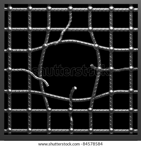 Hole in metal cage - stock photo