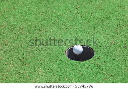 hole in one golf - stock photo