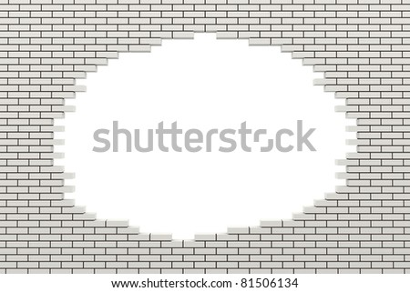 Hole in the brick wall. 3d rendered image - stock photo