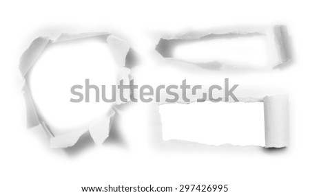 Hole in the paper sheet - stock photo