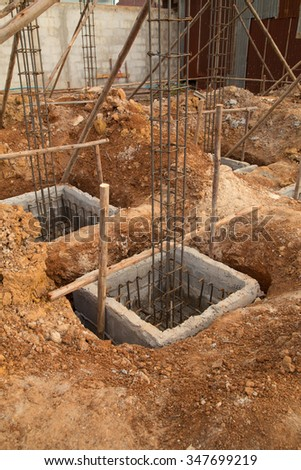 hole of pole in construction site building prepare for pouring cement