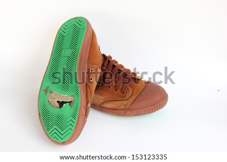 Hole on canvas shoes sole