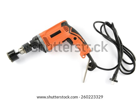Hole saw in head electric drill and set hole saw tools on white background - stock photo