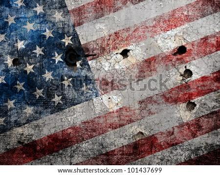 Holed grungy American flag background. - stock photo
