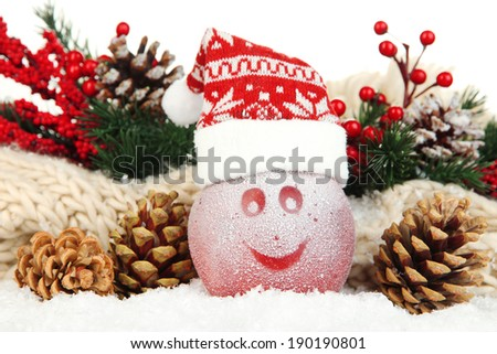 Holiday apple with frosted drawing in snow close up - stock photo