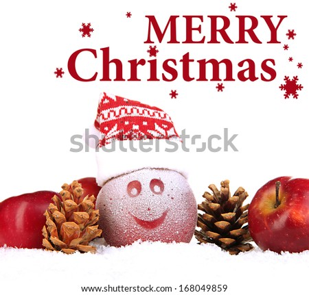 Holiday apple with frosted drawing in snow isolated on white - stock photo
